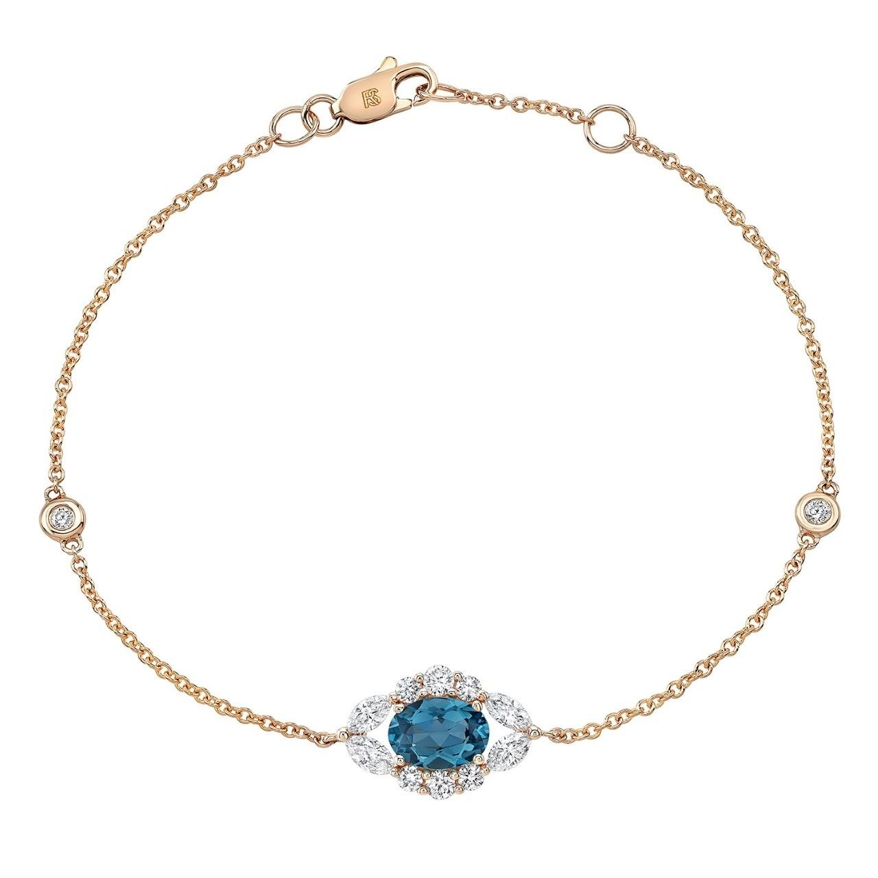 14k Rose Gold Diamond and Blue Topaz Oval Evil Eye Bracelet