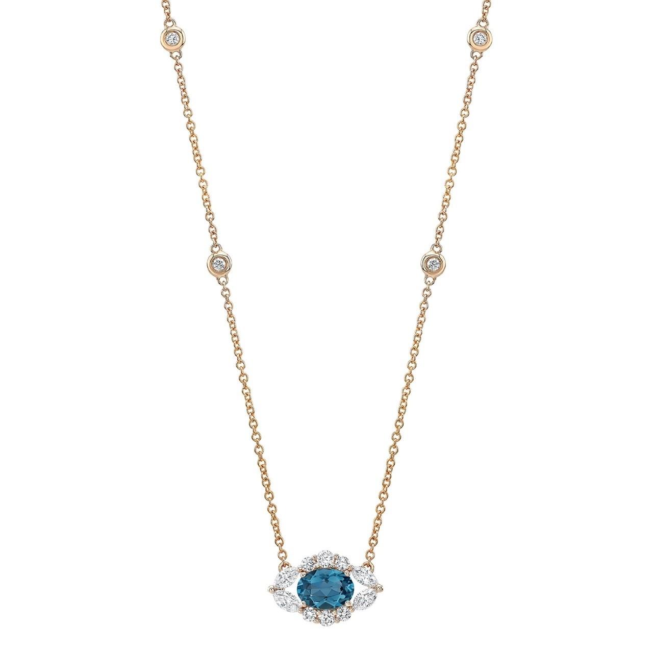 14k Rose Gold Diamond and Blue Topaz Oval Evil Eye Necklace