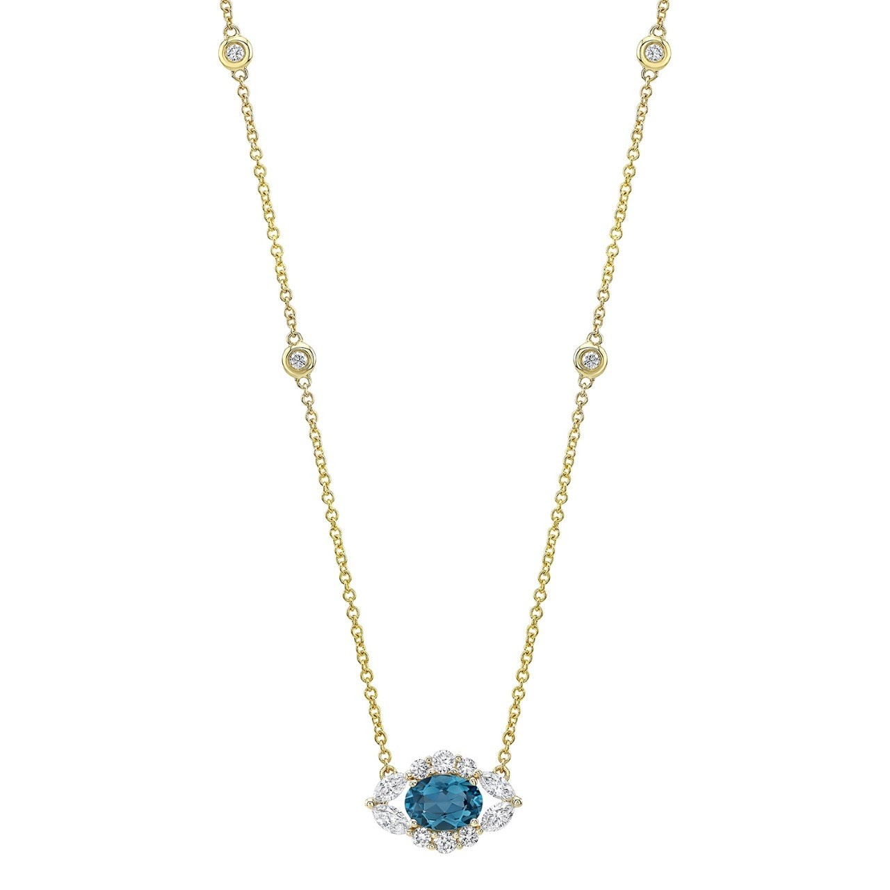 14k Yellow Gold Diamond and Blue Topaz Oval Evil Eye Necklace