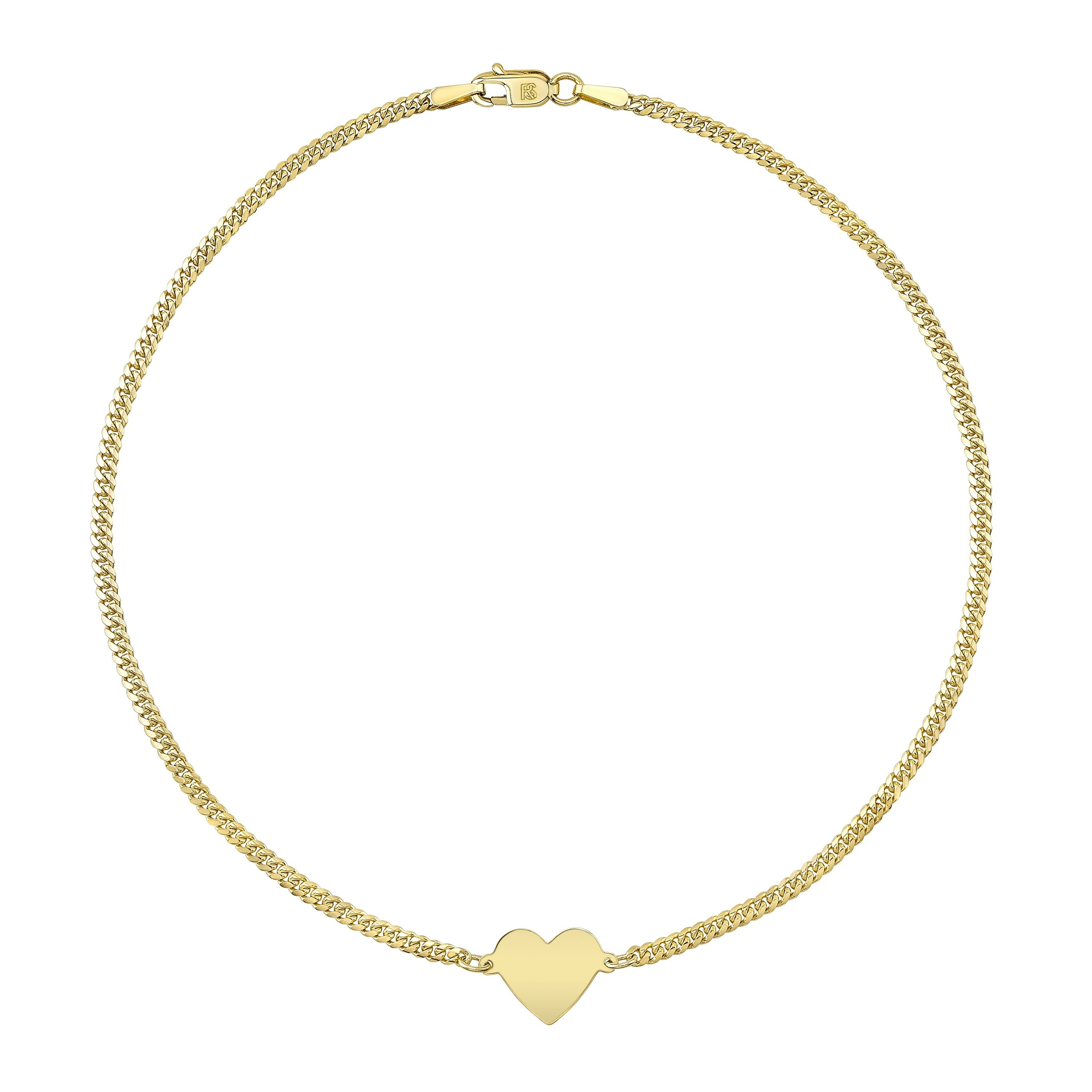 14k Yellow Gold Floating Heart Mini Miami Cuban Link Anklet
