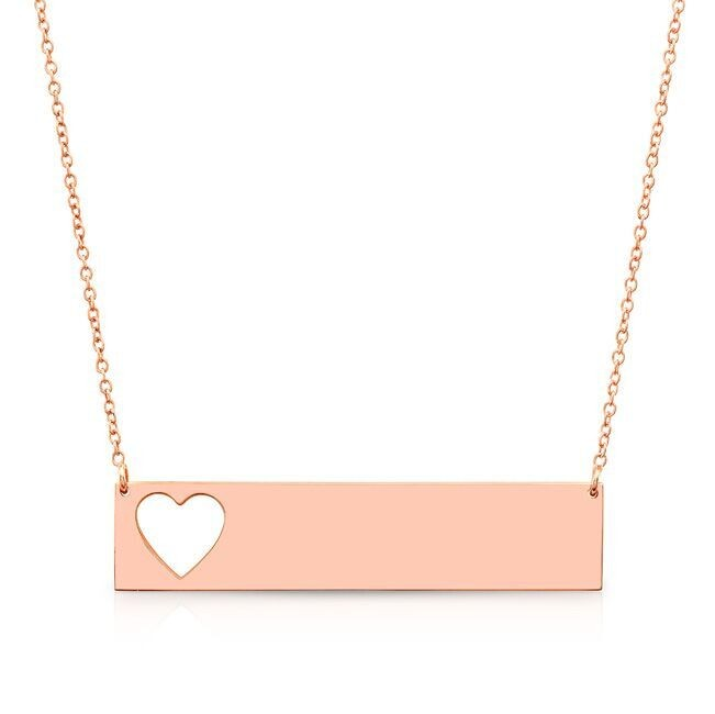 14k Rose Gold Cut Out Heart Bar Nameplate Necklace