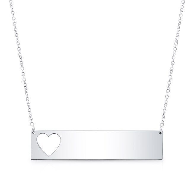 14k White Gold Cut Out Heart Nameplate Necklace