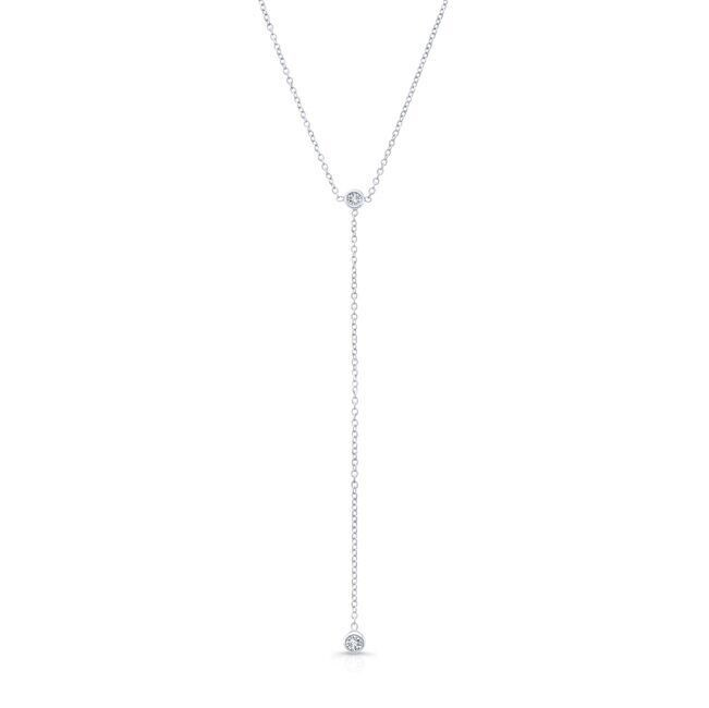 14k White Gold Diamond Bezel Lariat Necklace