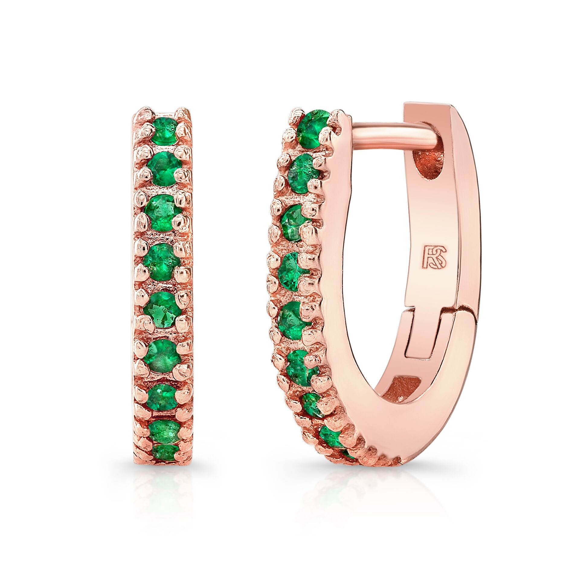 14K Rose Gold Emerald Huggie Hoops With Security Latch