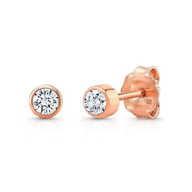 14k Rose Gold Bezel Set Diamond Stud Earrings