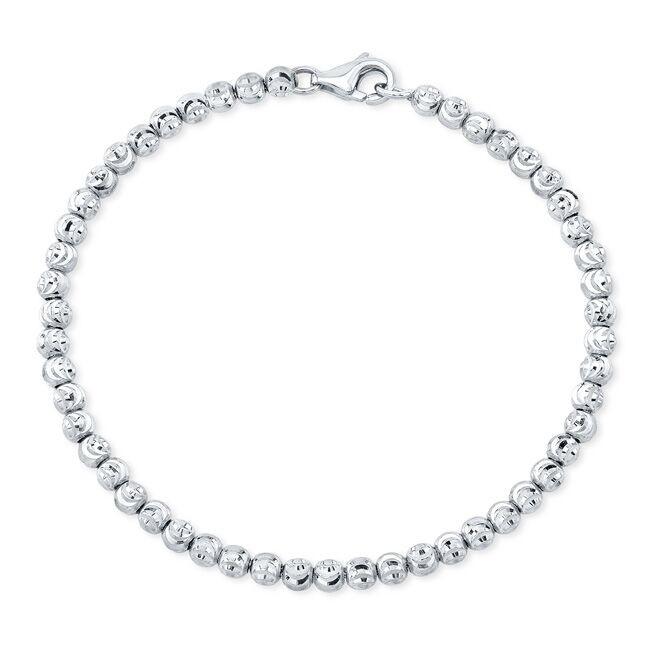 14k White Gold Diamond Cut Bead Bracelet