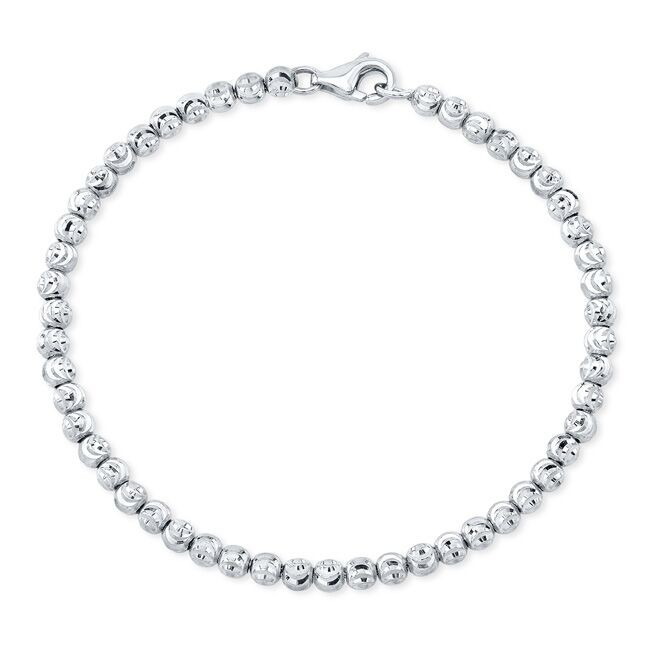 Men's 14k White Gold Diamond Cut Bead Bracelet