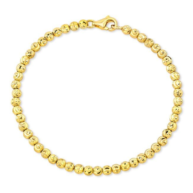 14k Yellow Gold Diamond Cut Bead Bracelet
