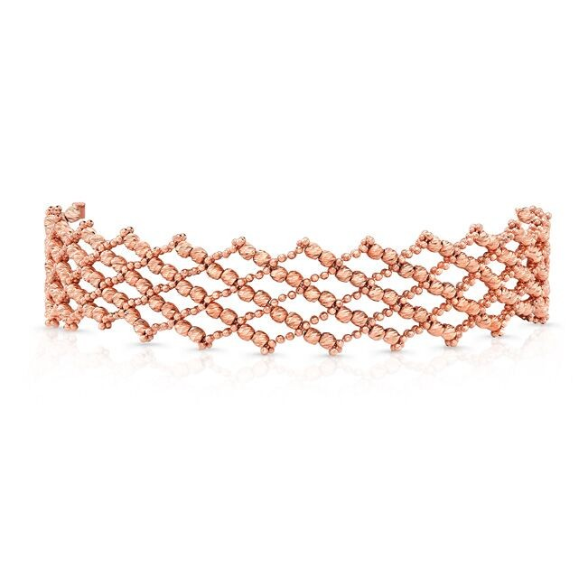 14k Rose Gold Diamond Cut Crosshatch Choker