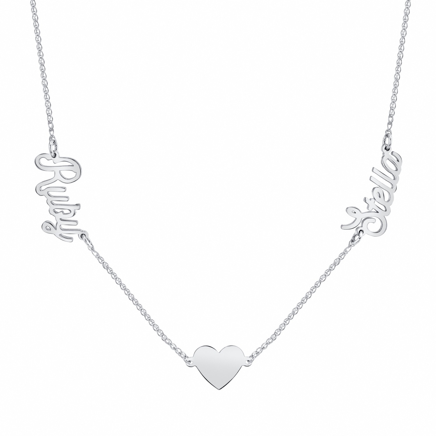 14k White Gold Personalized Script Nameplate Floating Heart Necklace