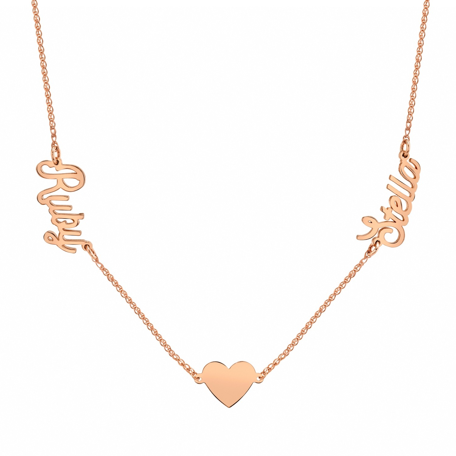 14k Rose Gold Personalized Script Nameplate Floating Heart Necklace