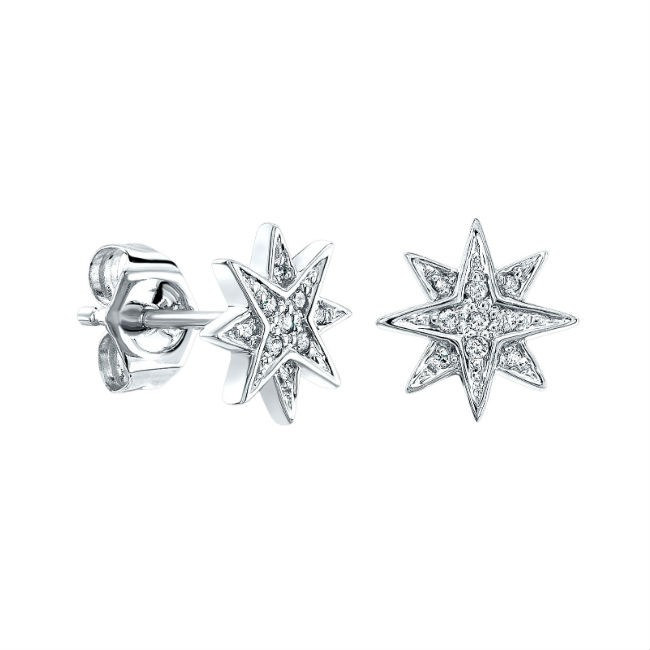 14k White Gold Diamond Starburst Stud Earrings