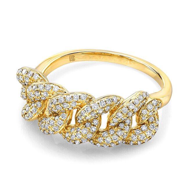 14k Yellow Gold Diamond Chain Link Ring