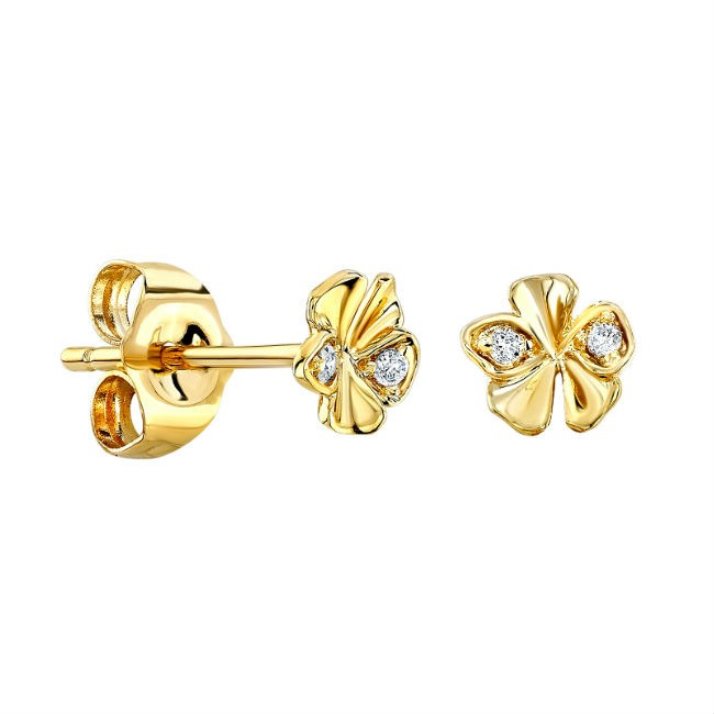14k Yellow Gold Diamond Orchid Stud Earrings
