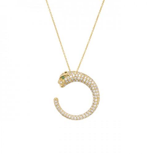 14k Yellow Gold Diamond Emerald Panther Necklace