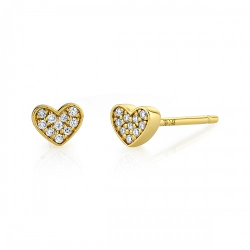 14k Yellow Gold Diamond Mini Heart Earrings