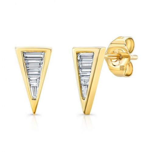 14k Yellow Gold Diamond Baguette Triangle Stud Earrings