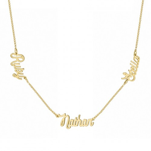14K Yellow Gold Triple Script Name Necklace