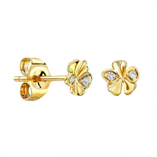 14k Yellow Gold Diamond Orchid Stud Earrings