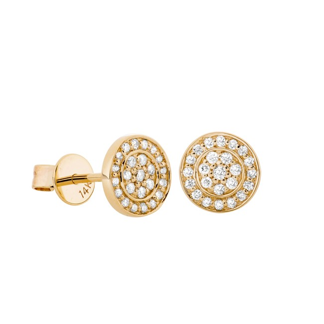 14k Yellow Gold Pave Diamond Disc Earrings