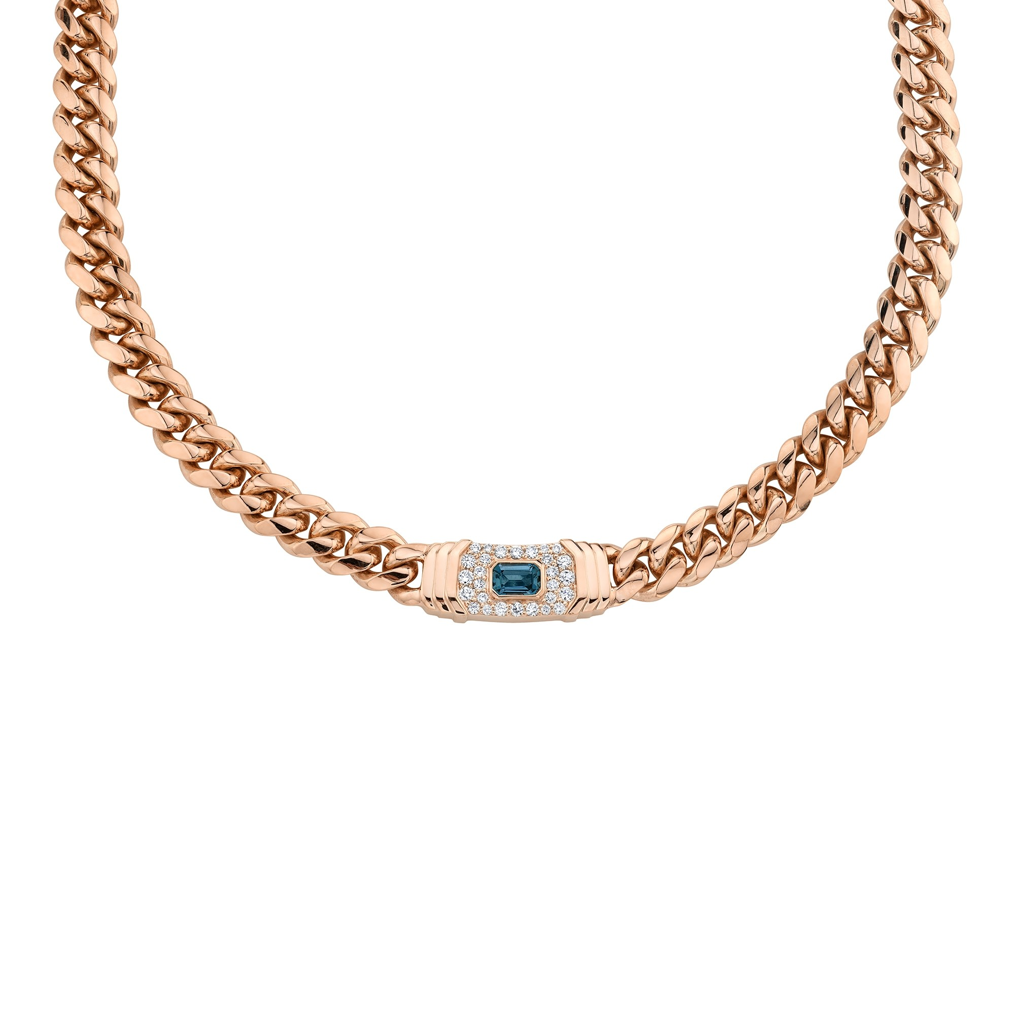 14k Rose Gold Diamond  Blue Topaz Miami Cuban Link Necklace