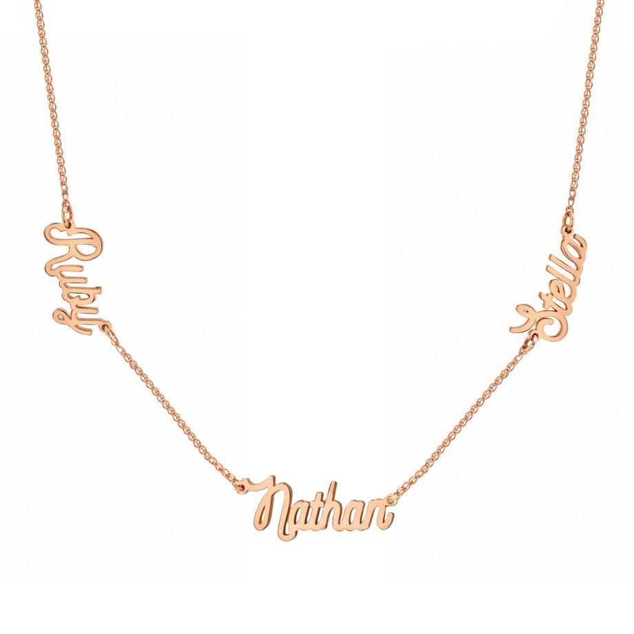 14K Rose Gold Triple Script Name Necklace