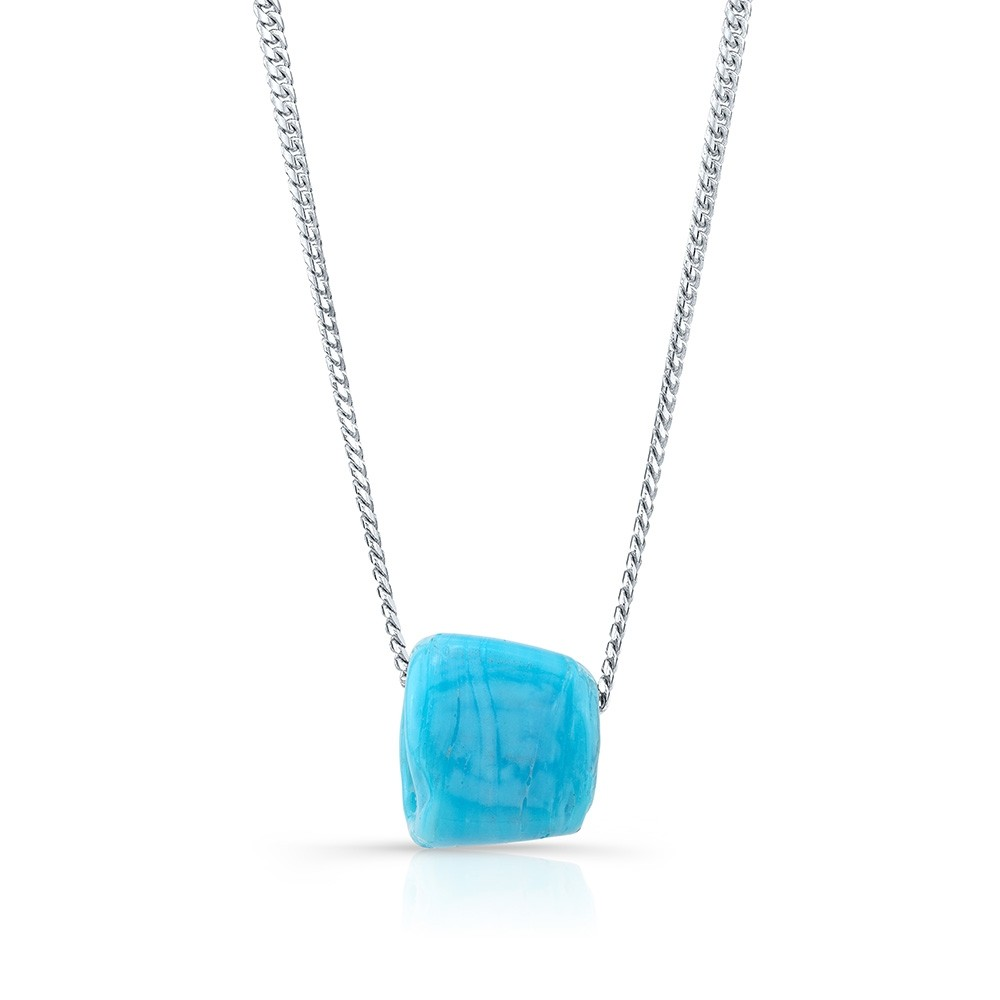 14k White Gold Mini Miami Cuban Chain and Turquoise Protection Bead