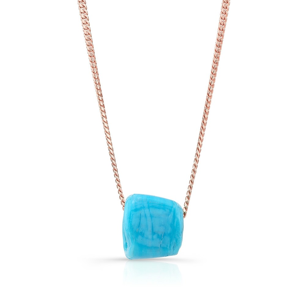 14k Rose Gold Mini Miami Cuban Chain and Turquoise Protection Bead