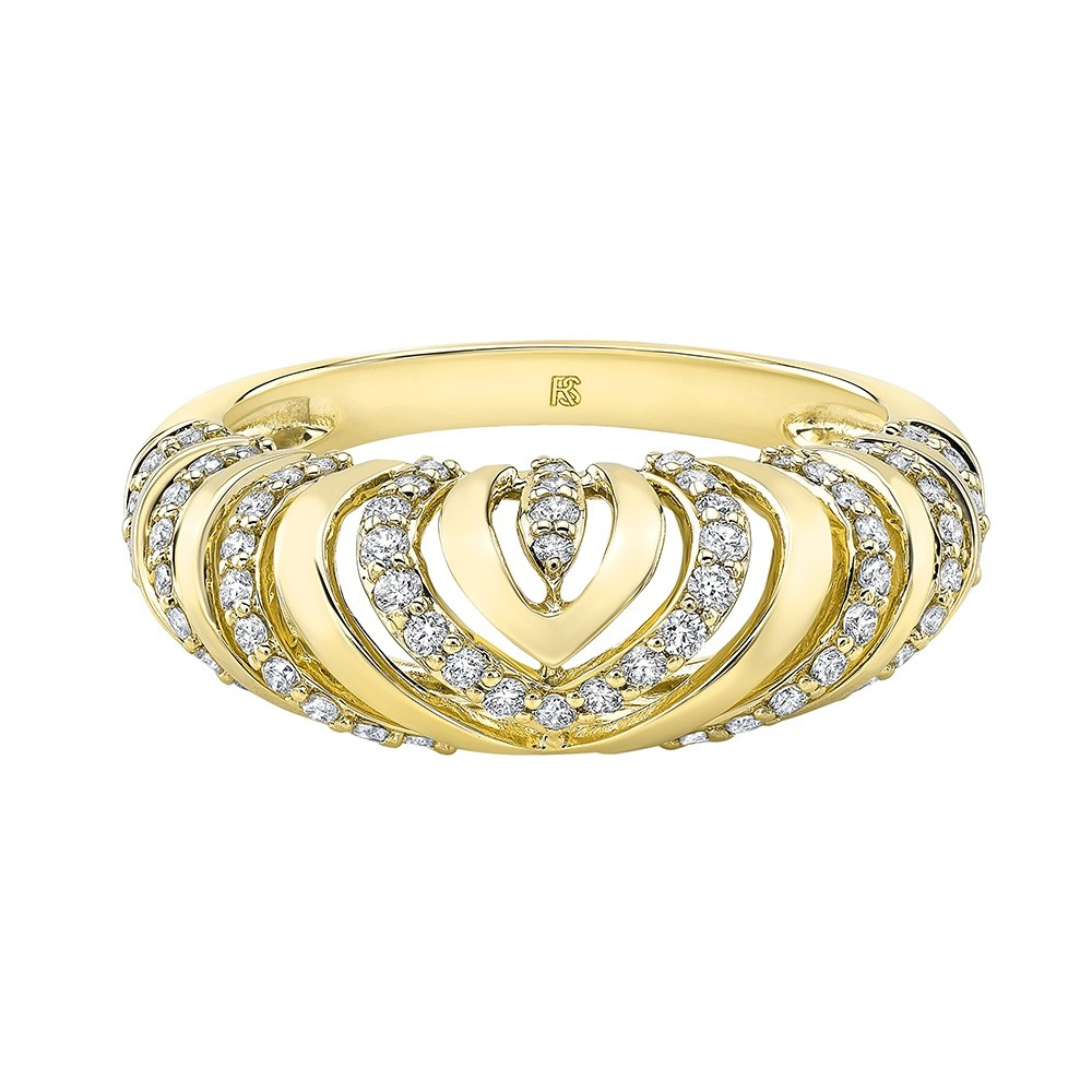 14k Yellow Gold Diamond Chevron Mini Dome Ring