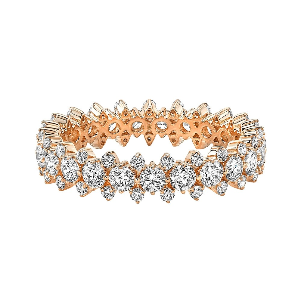 14k Rose Gold Diamond 3 Row Prong Set Eternity Band